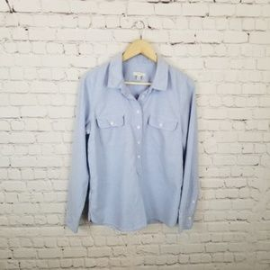 J. Crew Light Blue Cotton Popover Long Sleeve Top
